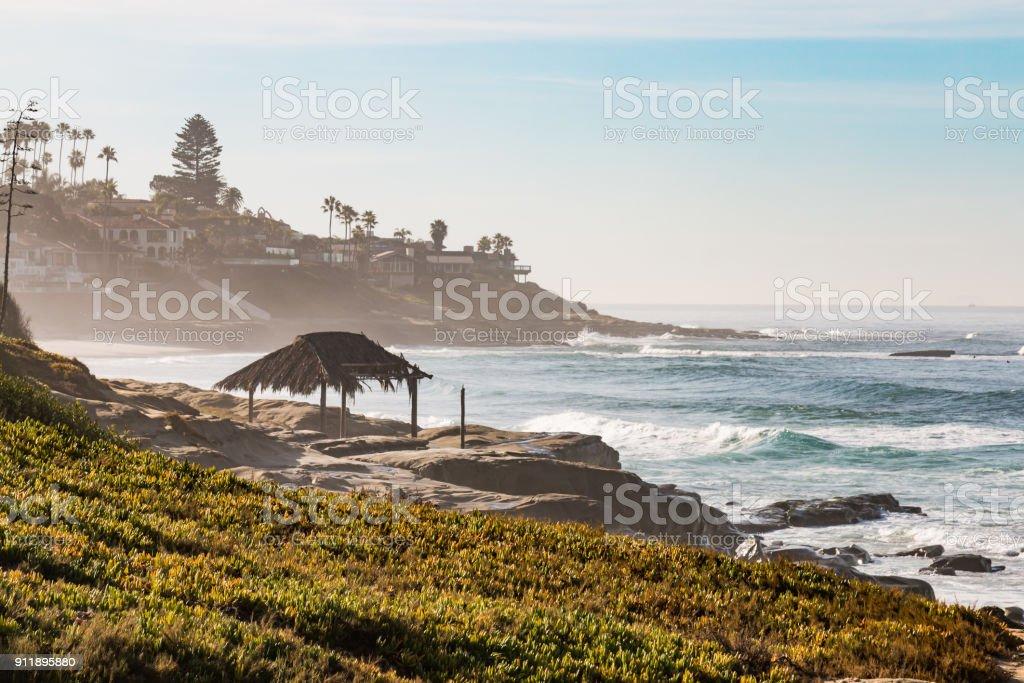 Hazy Morning on Windansea Beach in La Jolla stock photo