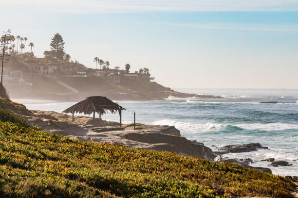 Hazy Morning on Windansea Beach in La Jolla stock photo