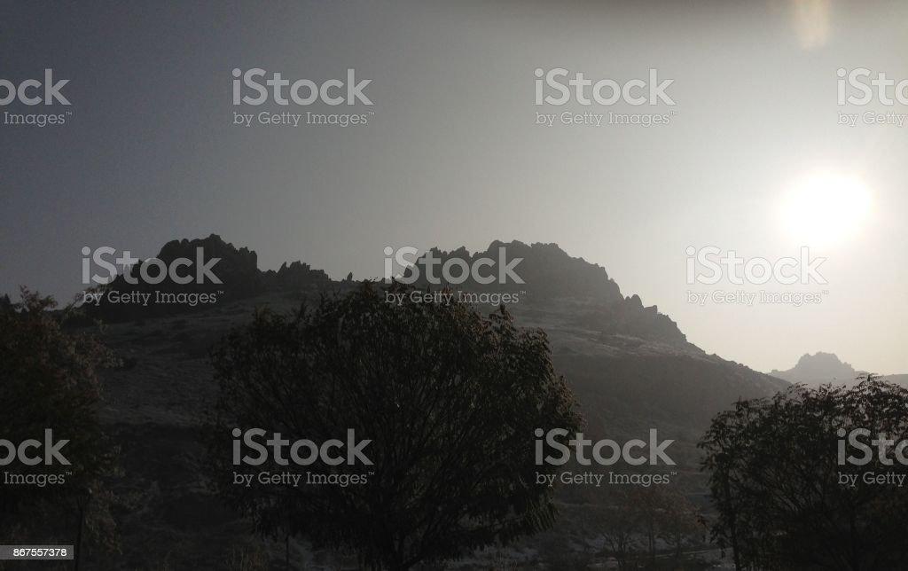 A hazy mountain stock photo