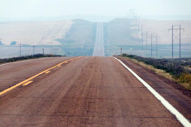 Hazy road stock photo