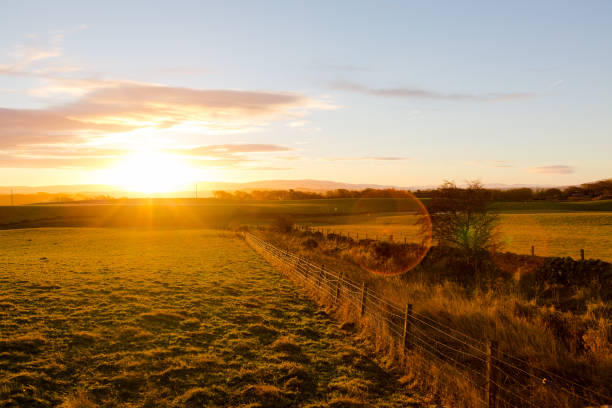 Hazy rural landscape in sunrise light, Scottish Highlands stock photo