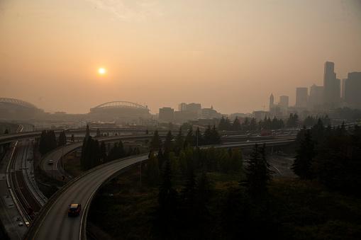 Hazy Seattle skyline due to wildfire smoke