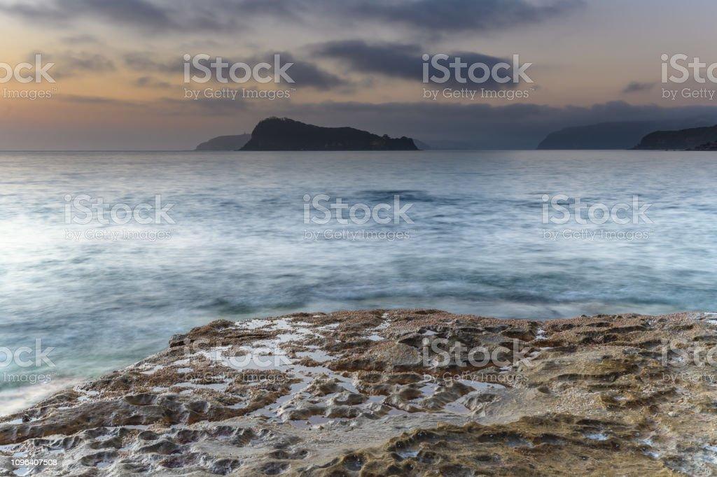 Hazy Soft Light Dawn Seascape stock photo