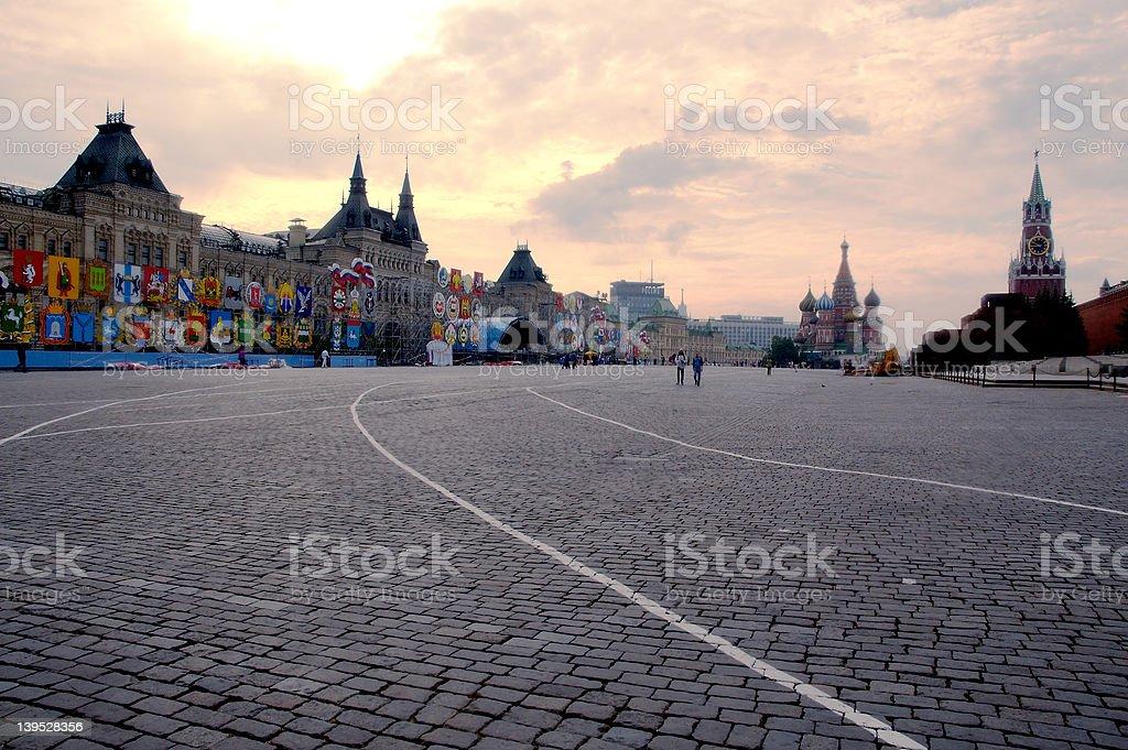 Hazy sunrise at Red Square royalty-free stock photo