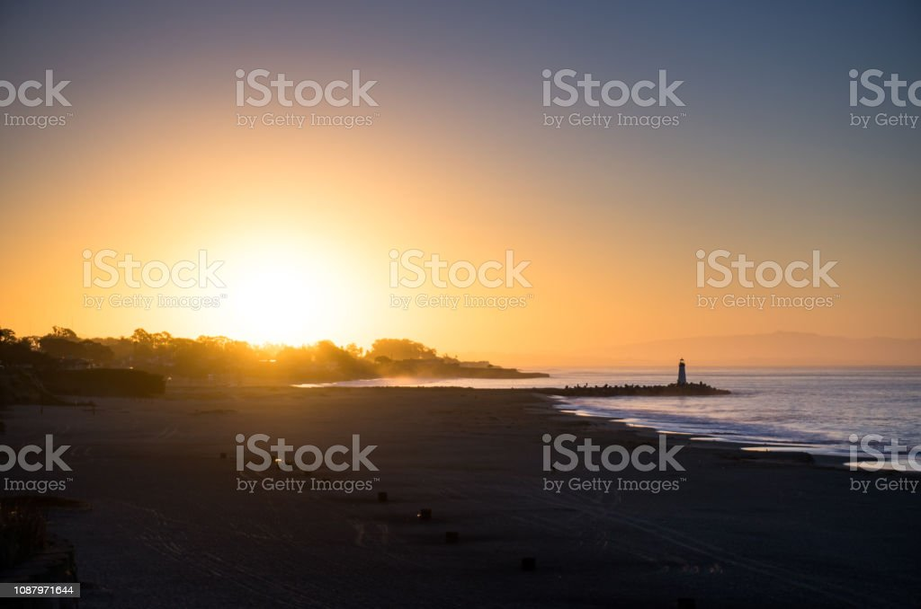 Hazy Sunrise in Santa Cruz stock photo
