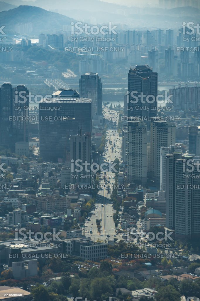 Hazy view over city of Seoul in South Korea stock photo