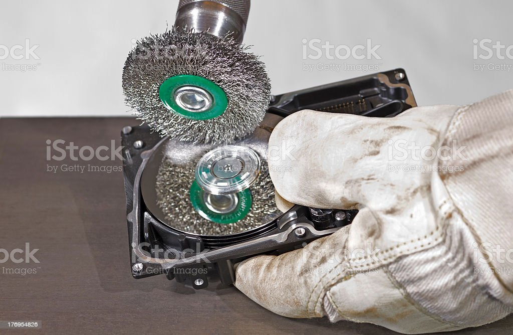 hdd gets scrubbed royalty-free stock photo