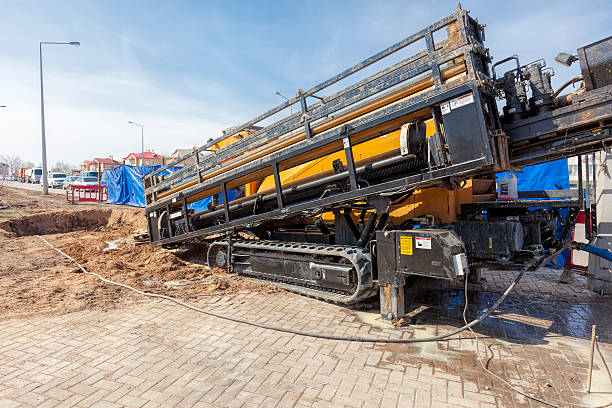 hdd-horizontal directional drilling operation - drill stock photos and pictures