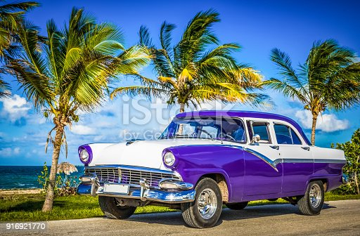 HDR-American blue vintage car parked on the coastline near the beach in Havana Cuba - Serie Cuba Reportage