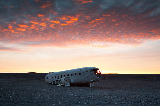 he abandoned DC-3 Airplane in Iceland The abandoned DC-3 Airplane on Solheimasandur beach.  Airplane wreckage on black sand beach. Douglas Dakota DC3, US navy, South Iceland. sólheimasandur stock pictures, royalty-free photos & images