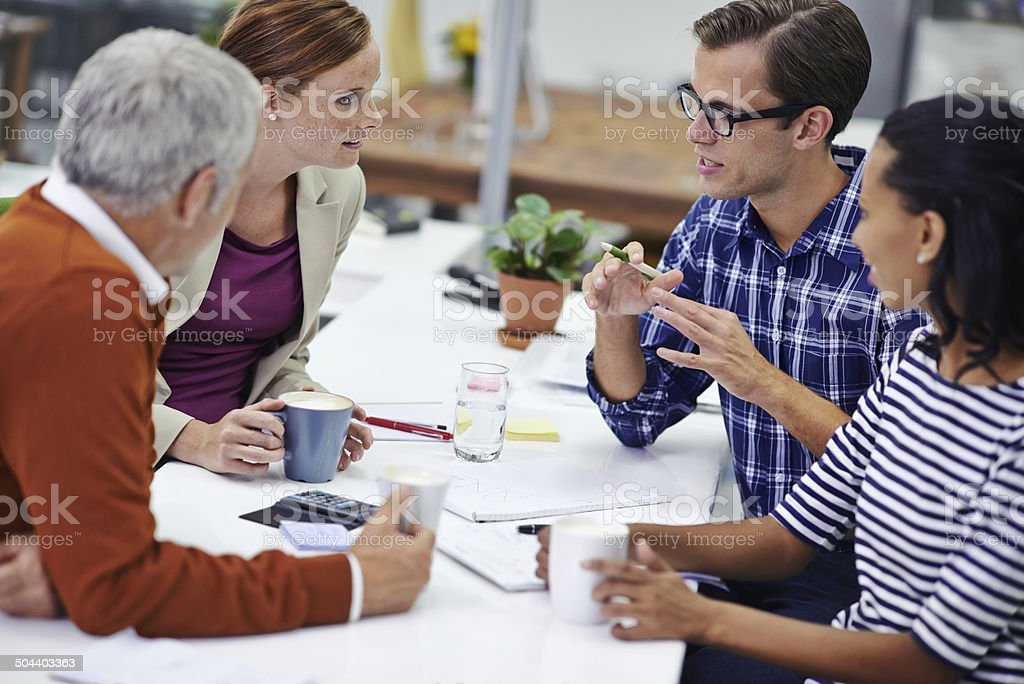 He always communicates his ideas well stock photo