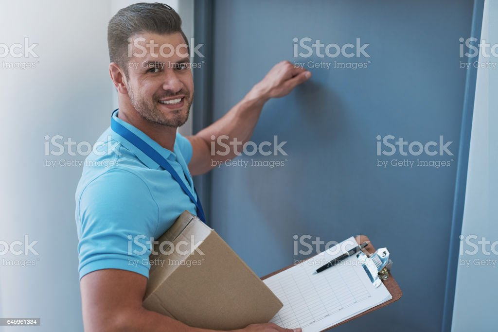 He always delivers on time stock photo