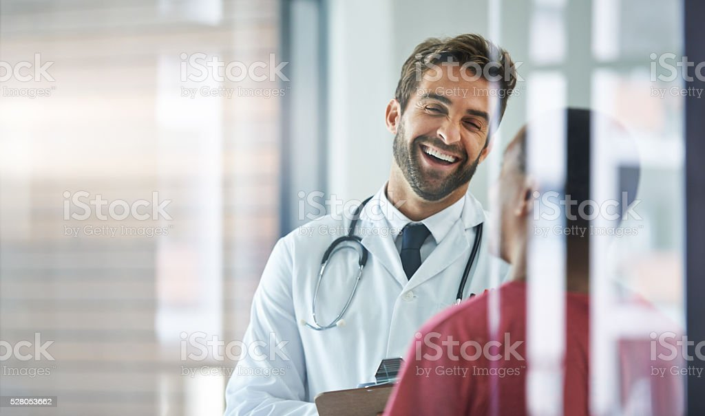He always puts his patients at ease stock photo