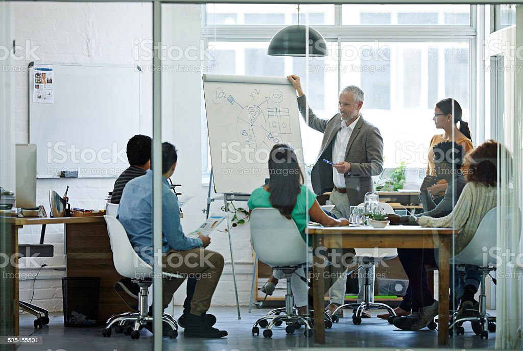 He brings experience to every meeting stock photo