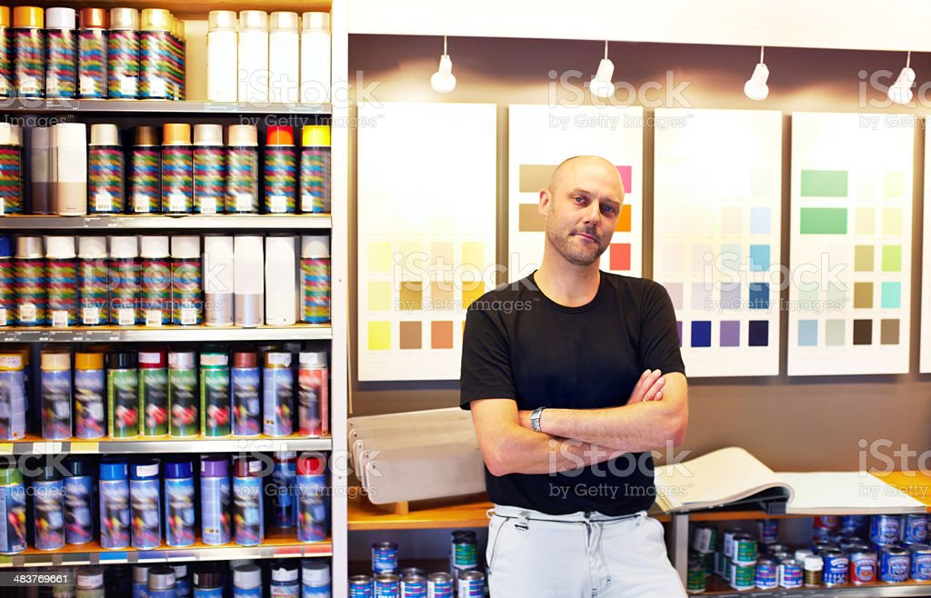 He can supply every colour of paint royalty-free stock photo