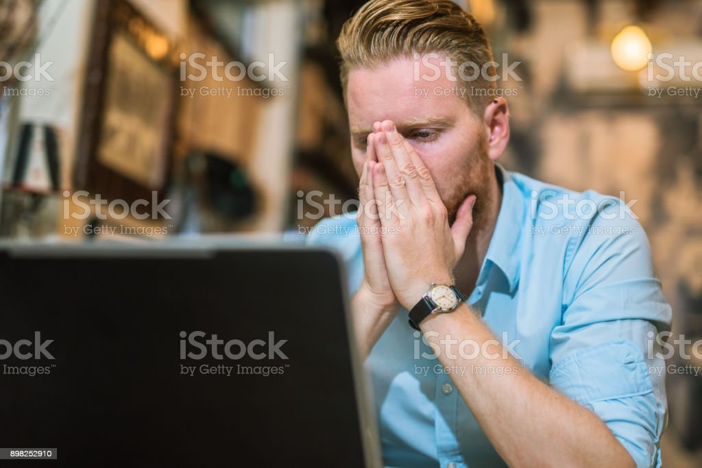 He can't believe his eyes. stock photo