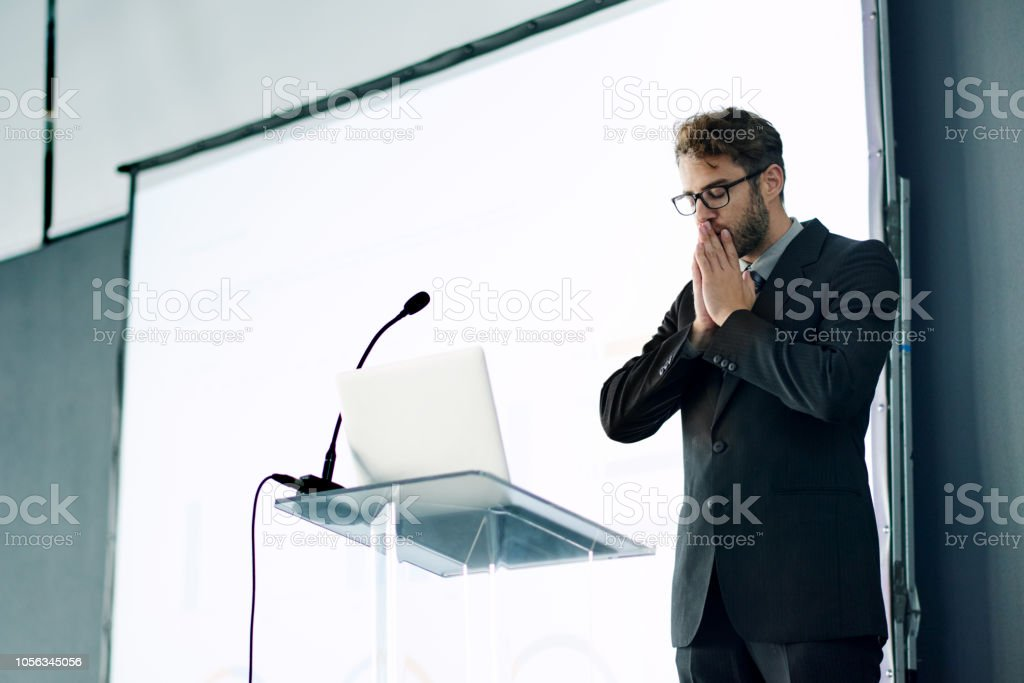 He can't get his jitters under control stock photo