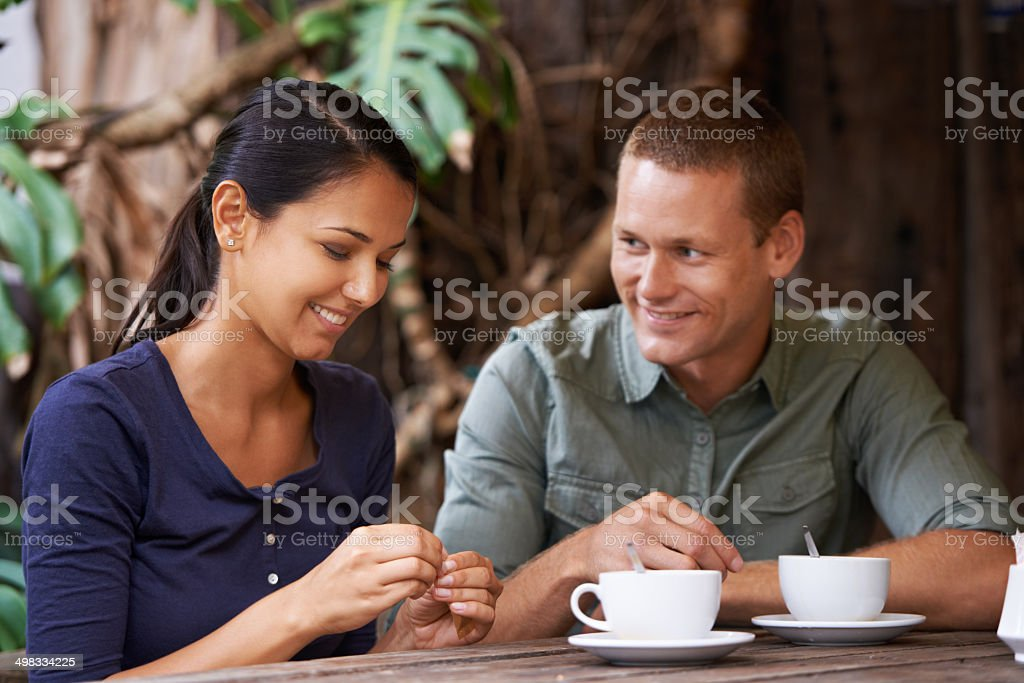 He can't keep his eyes off her stock photo