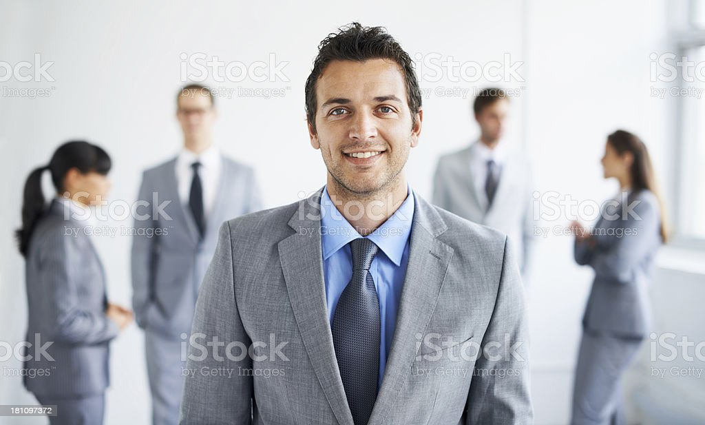 He excels at business! stock photo