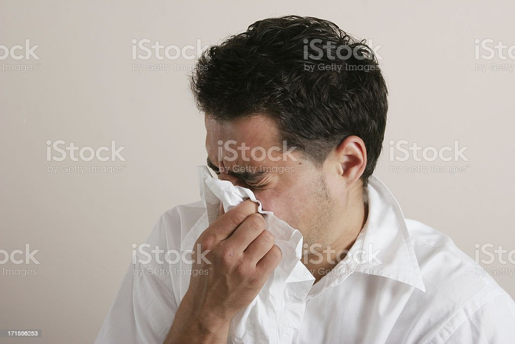 he got the flu royalty-free stock photo
