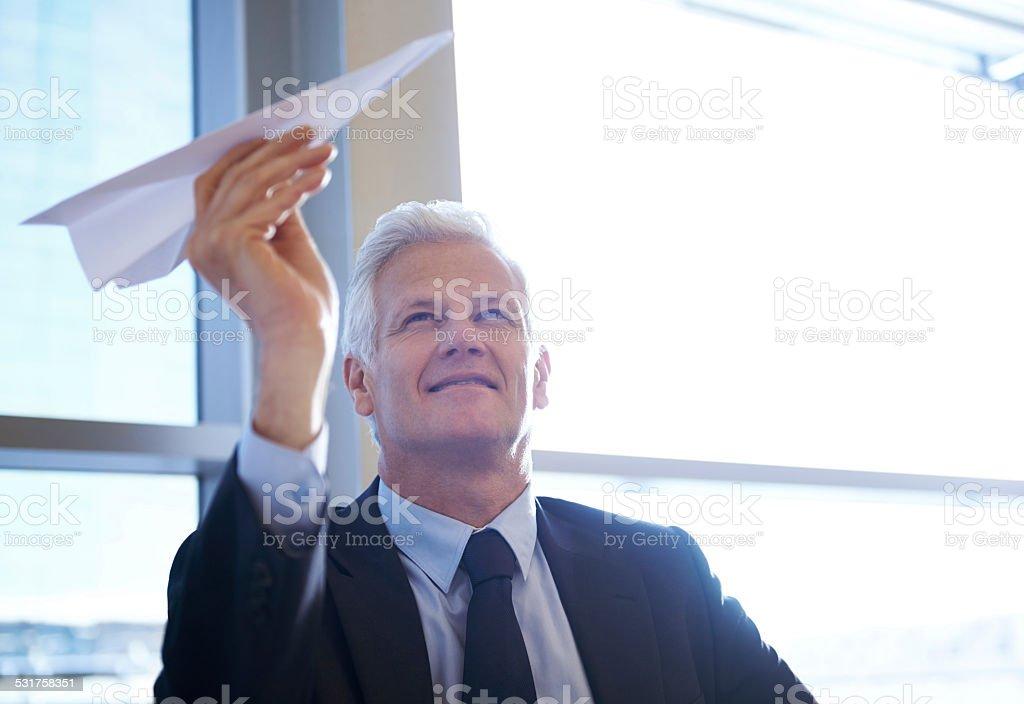 He has high hopes stock photo