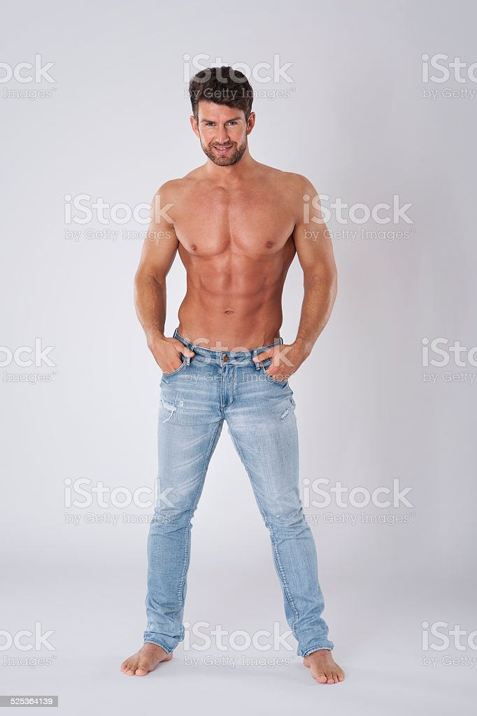 He has perfect shape of body stock photo