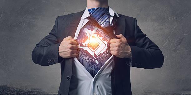 He has super power . Mixed media stock photo