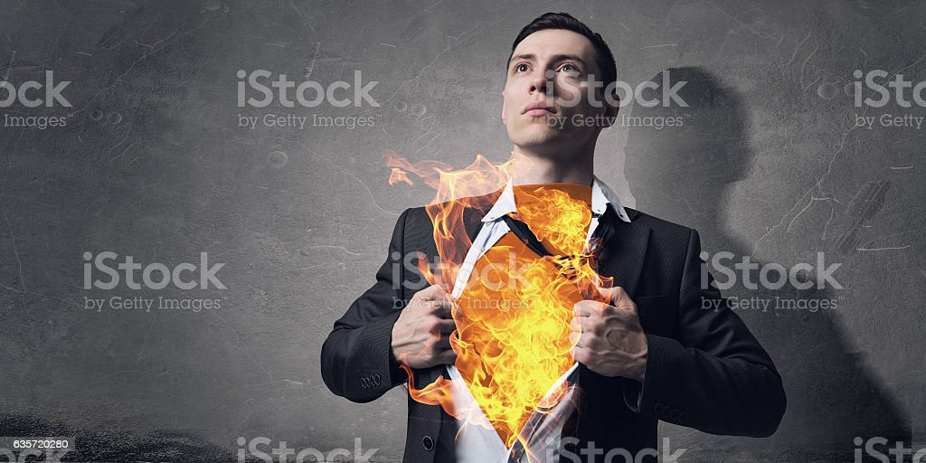 He has super power . Mixed media stock photo