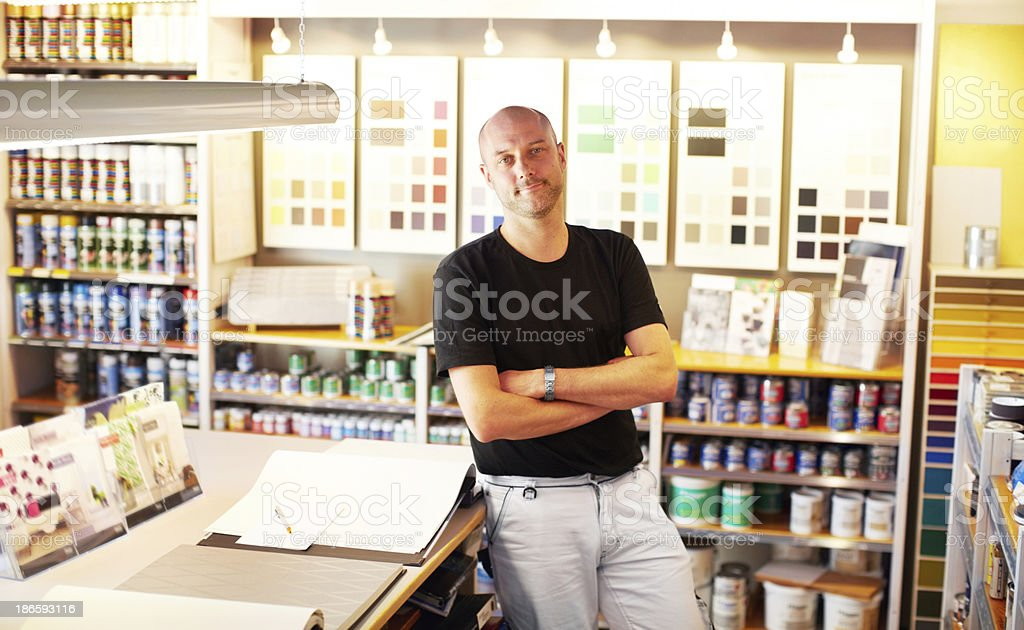 He has whatever paint you need royalty-free stock photo