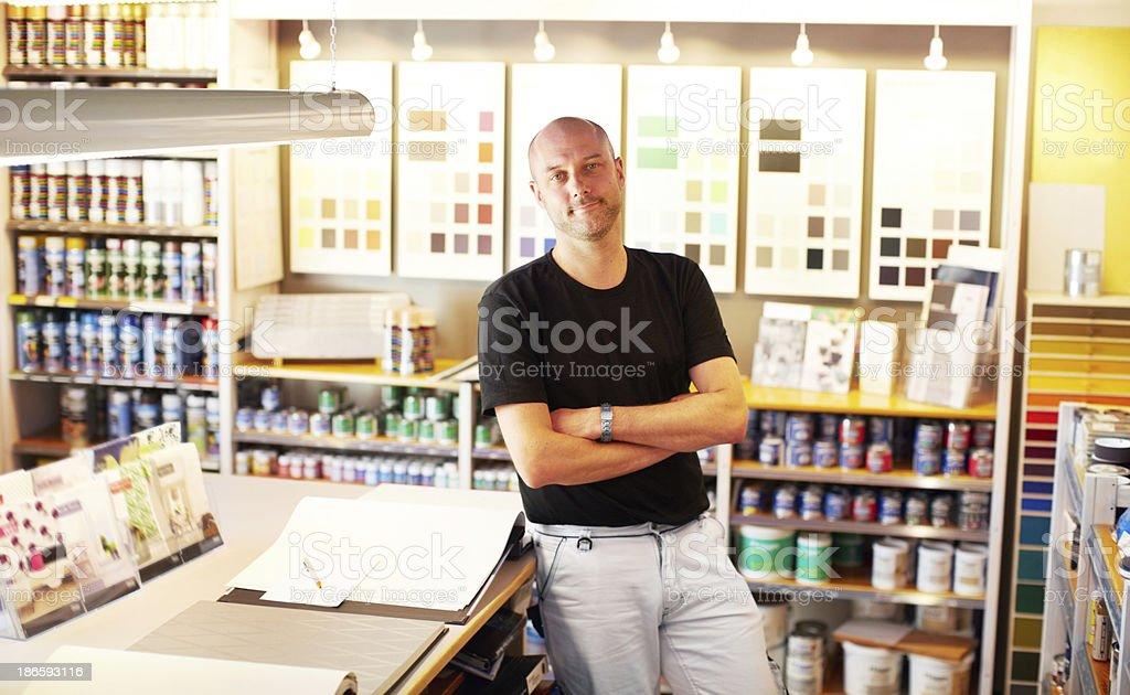 He has whatever paint you need stock photo