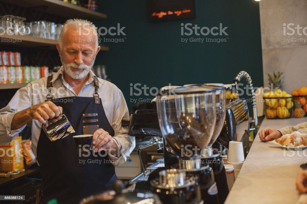 He has years of experience stock photo