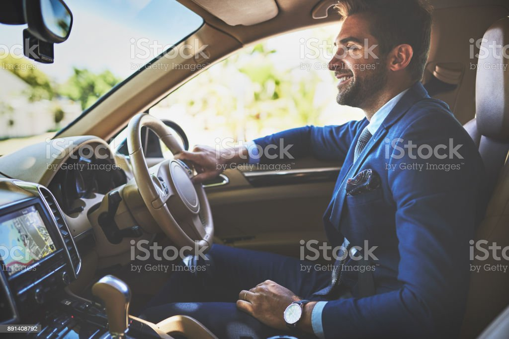 He is always in a good mood on his way to work stock photo