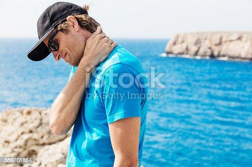istock He is having severe neck pain 586701864