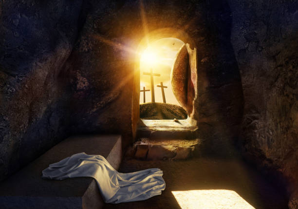 He is Risen. Empty Tomb With Shroud. Crucifixion at Sunrise. -3d rendering. - Illustration. He is Risen. Empty Tomb With Shroud. Crucifixion at Sunrise. -3d rendering. - Illustration. empty tomb stock pictures, royalty-free photos & images