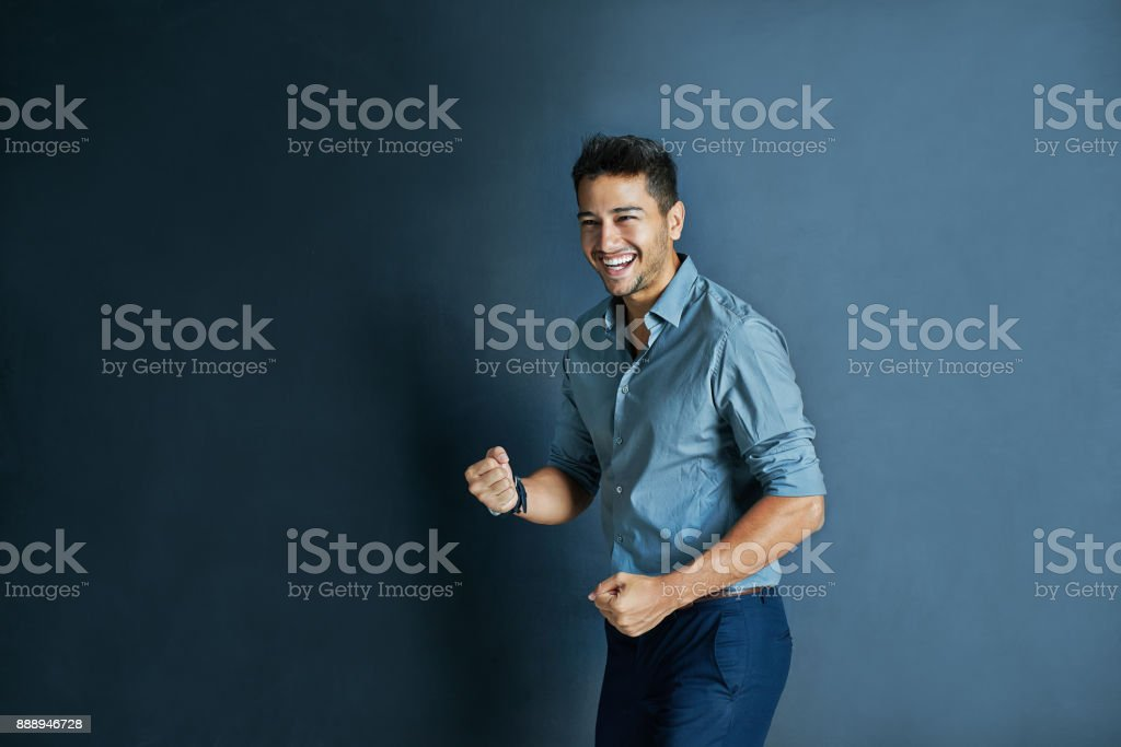 He is very motivated today stock photo
