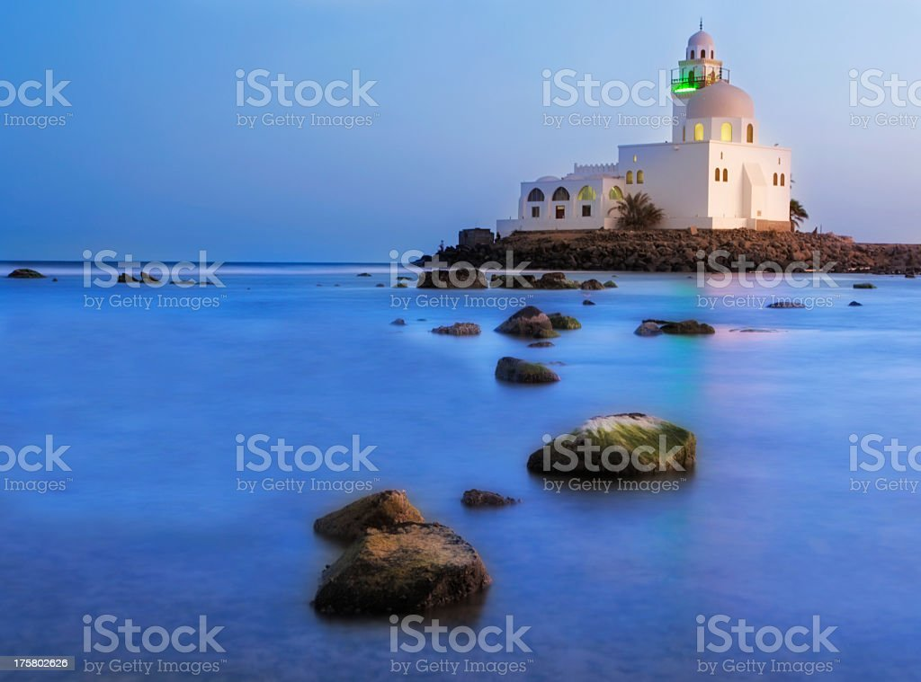 He Jeddah corniche mosque with ocean view stock photo