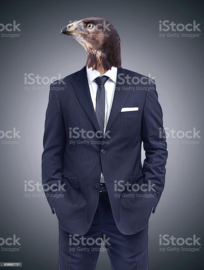 He keeps an eagle eye on the financial market stock photo