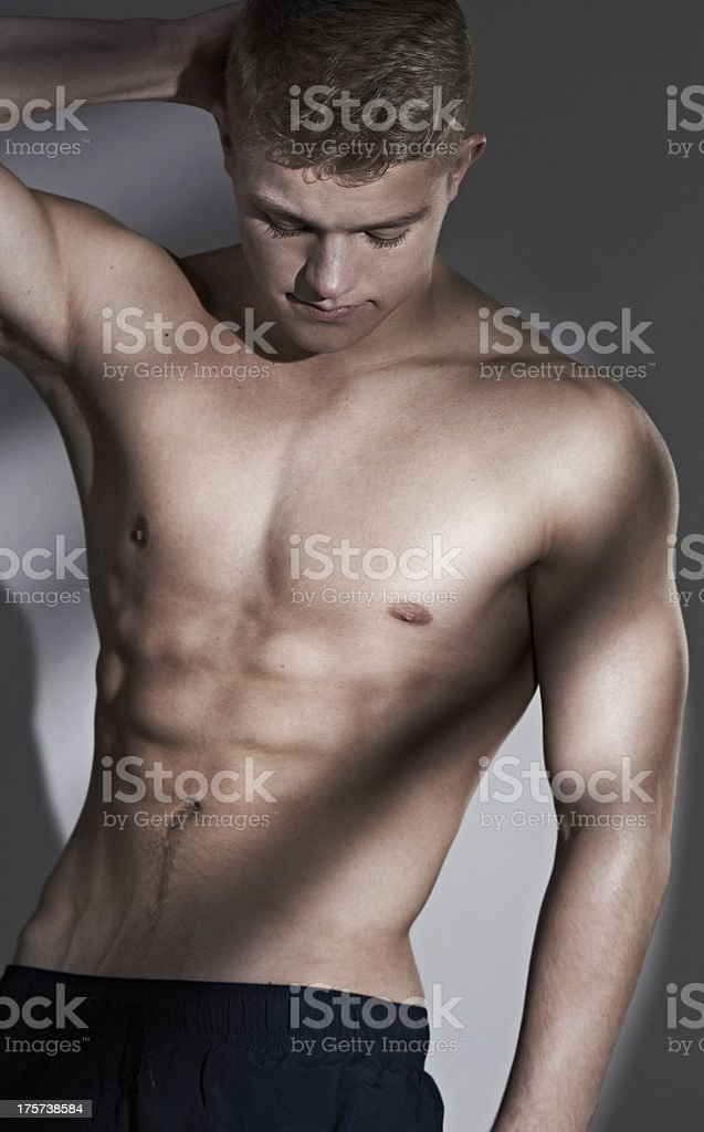 He keeps his body taut and toned royalty-free stock photo