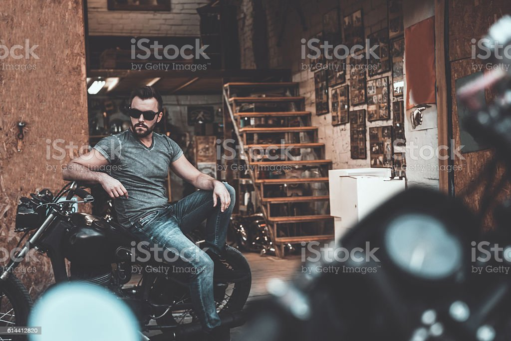He knows everything about bikes. stock photo