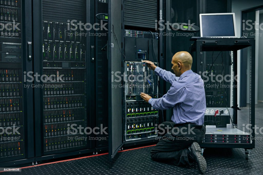 He knows his way around a computer system stock photo
