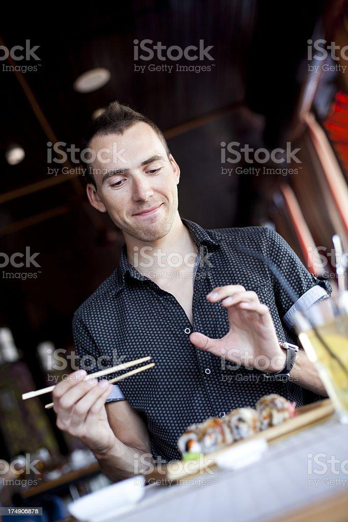 He Likes Sushi royalty-free stock photo