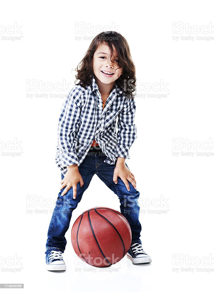He loves basketball royalty-free stock photo