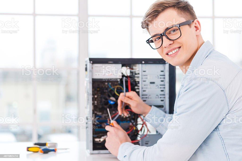 He loves his job. stock photo