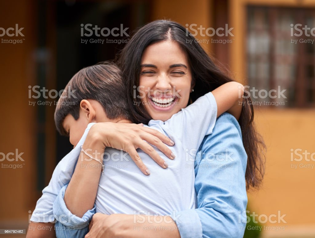 He loves his mother so much royalty-free stock photo
