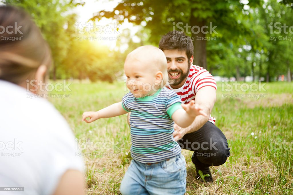 He makes his first steps stock photo