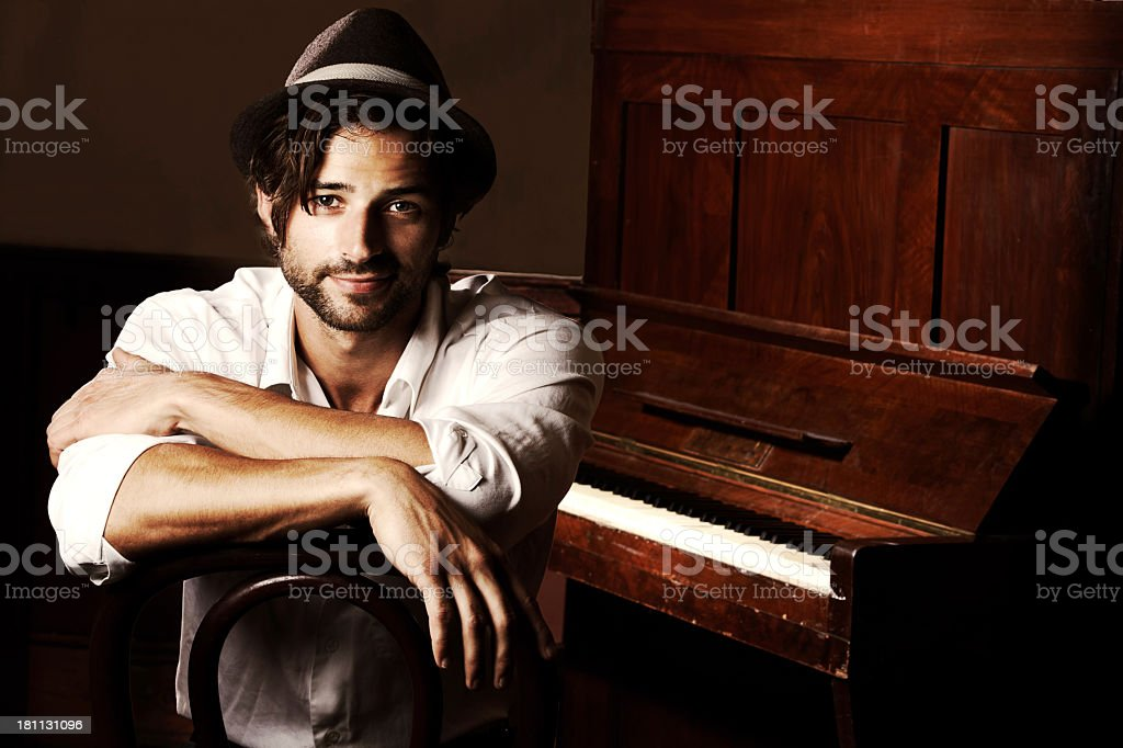 He makes music for the soul stock photo