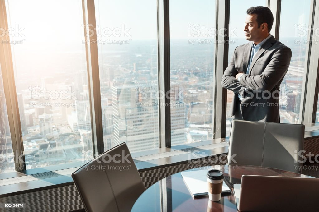 He never backs down when challenges arise stock photo