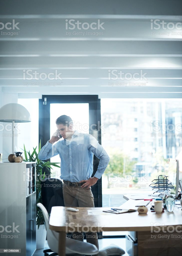 He never keeps success waiting on the line stock photo