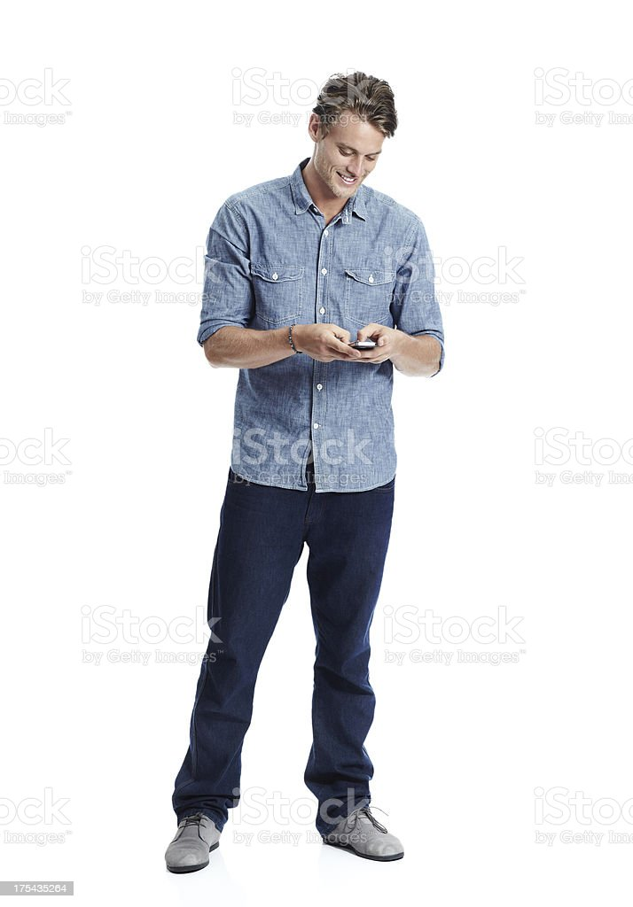 He never lets a text go unanswered stock photo