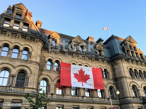 Ottawa, Canada - June 25th, 2019: The Office of the Prime Minister and Privy Council building, formerly known as the Langevin Block, an office building facing Parliament Hill in Ottawa, Canada.